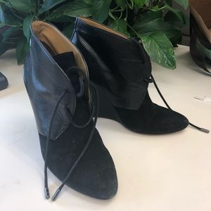 Coach suede and leather black booties